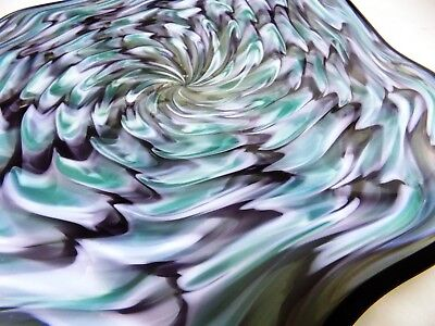 Hand Blown Glass Platter #901 Art Bowl Beautiful Amethyst Turquoise Ripples Huge