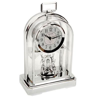 RHYTHM Silver Colour Rotating Swarovski Pendulum Anniversary Mantel Clock Time