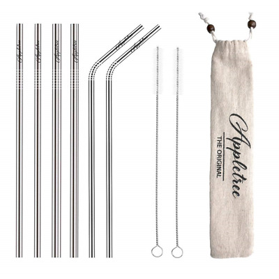 6 Reusable Stainless steel Drinking Straws with exclusive SMOOTHIE for...