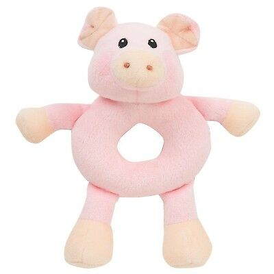 Pink Piggy Pig Baby Rattle Toys Babies R Us Stocking Stuffer Embroidered Infant
