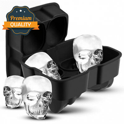 Uarter 3D Skull Ice Cube Tray Large Silicone Mould Flexible Maker for...