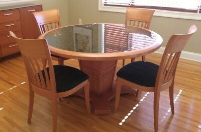 Transitional Gorgeous Dining Room Furniture Granite Round Table 54 X Chairs