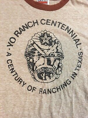 YO RANCH Mountain Home TEXAS 1980 vtg t shirt Centennial 1880 1980 50/50