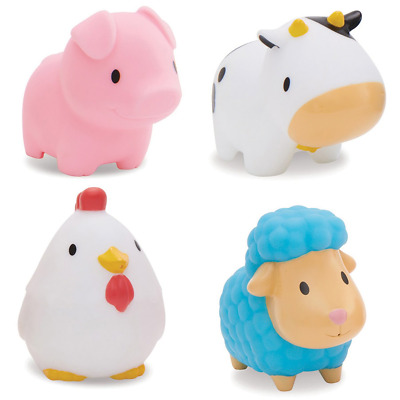 Munchkin Floating Farm Animal Themed Rubber Bath Squirt Toys for Baby - Pack...