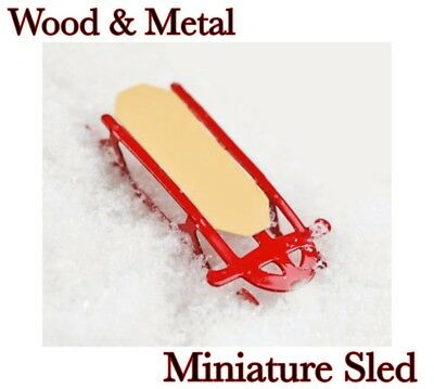 TINY RED WOOD & METAL SLED Miniature Dollhouse or FAIRY GARDEN Holiday Decor NEW