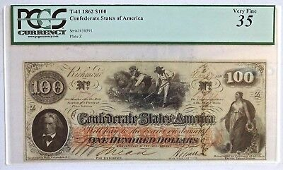 Confederate Currency T-41 $100 Note 1862 PCGS Very Fine 35