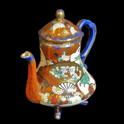 KUTANI Cobalt gold hand painted Tea pot Japanese porcelain Kutani Meiji #221