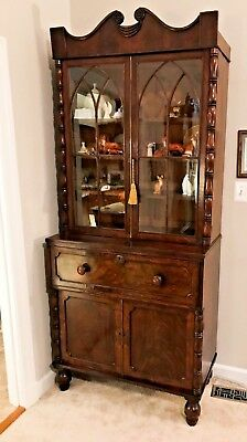 Antique Regency Mahogany Bookcase Secretaire - c.1820 - Shipping Available
