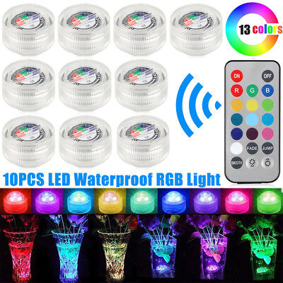 10x Submersible RGB LED Lights Waterproof Underwater Battery Driven Lamp LD1431