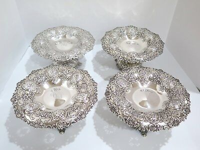 "4 pc - 9"" Sterling Silver Tiffany & Co Antique Floral Serving Plates/Cake Stands"