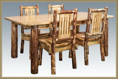 AMISH LOG DINING Room Set 6 ft Kitchen Table and 4 Chairs ...