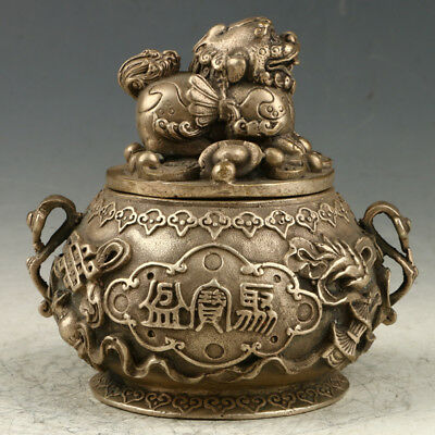 Chinese Silvering Copper Hand Carved Incense Burner W Xuande Mark AAA0165