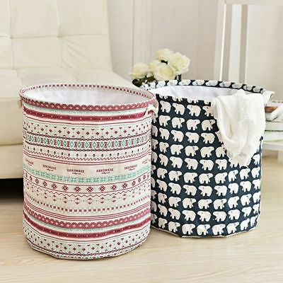 Foldable Cotton Linen Large Storage Laundry Hamper Clothes Basket Wash Organizer