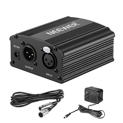 Neewer 1-Channel 48V Phantom Power Supply with XLR Audio Cable for Microphone