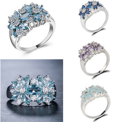 925 Silver Crystal Sapphire Fashion Women Wedding Jewelry Ring Gift Size 6-10