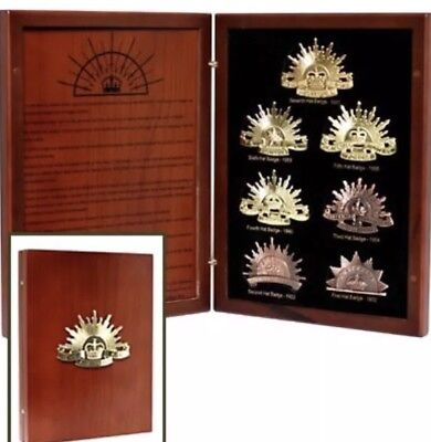 Anzac Day The History of the Rising Sun 7 Piece Hat Badge Collection-Best Price!