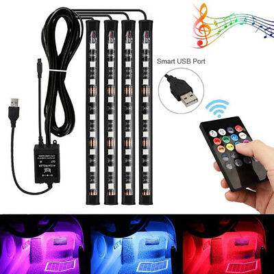 4x 9LED RGB Car Interior Atmosphere Footwell Strip Light USB Charger Decor Lamp、