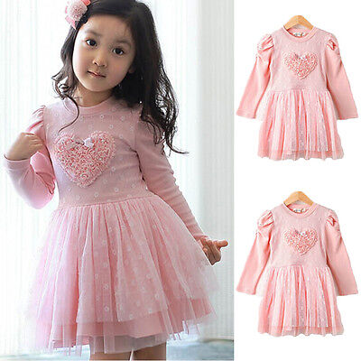 Flower Girls Princess Dress Kids Baby Party Wedding Pageant Long Sleeve Dresses#