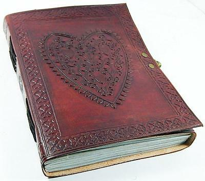 Leather journals christmas gift Large Vintage Heart Embossed Leather Journal
