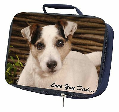 Jack Russell Dog 'Love You Dad' Navy Insulated School Lunch Box Bag, DAD-176LBN