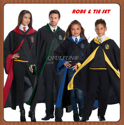 Harry Potter Robe Costume Horwarts Uniform Adult Kids Wizard Cloak&Tie Xmas Gift