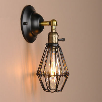 Rustic Wall Lamp Vintage Industrial Bird Cage Wall Light Antique Brass Sconce