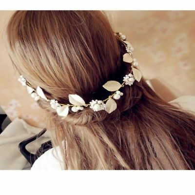 Gold Floral Leaf Pearl Wedding Bridal earrings hair Accessories  Tiara Headband