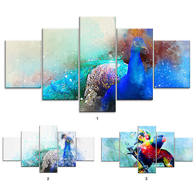 Birds Abstract Canvas Print Painting Framed Home Decor Wall Art Poster 5Pcs