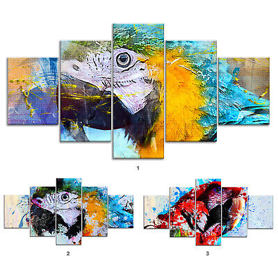 Parrot Bird Abstract Canvas Print Painting Framed Home Decor Wall Art Poster 5P