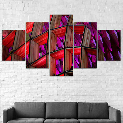 Wood Abstract Canvas Print Painting Framed Home Decor Wall Art Poster 5Pcs