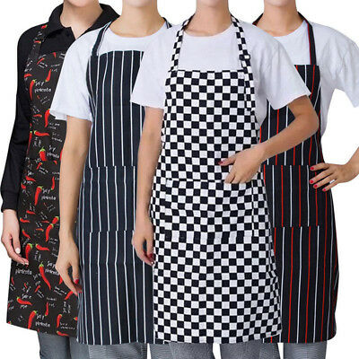 Striped Plaid Chef Apron With Butcher Waiter Cooking Kitchen Apron Bib Pockets