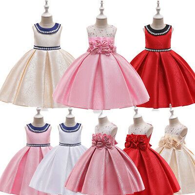 Girls Dresses Party Wedding Bridesmaid Embroidery Flowers High Low Bow Ball Gown