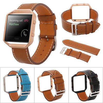 Replacement Genuine Leather Watch Band Strap Metal Frame For Fitbit Blaze Track