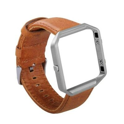 Classic Genuine Leather Watch Band bracelet Strap +Metal Frame For Fitbit Blaze