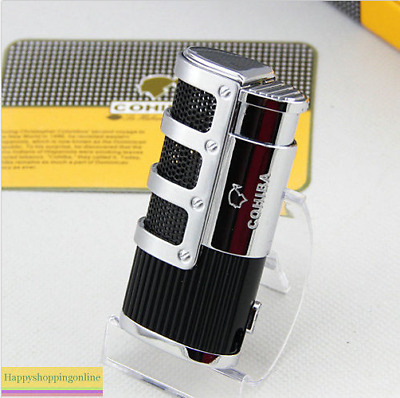 COHIBA Black Gridding Stripes 3 Torch Jet Flame Cigarette Cigar Lighter W/Punch