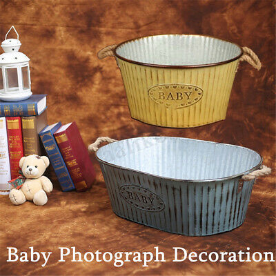 Newborn Baby Photography Props Baby Bucket Posing Tub Infant Iron Basket Seats