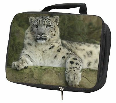 Beautiful Snow Leopard Black Insulated School Lunch Box Bag, AT-47LBB