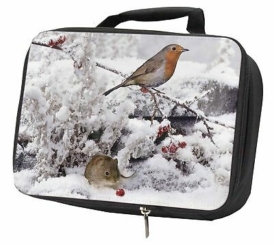 Snow Mouse and Robin Print Black Insulated School Lunch Box Bag, AMO-5LBB