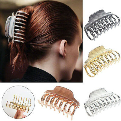 New Fashion Women Solid Color Hair Claw Retro Simple Hair Clip