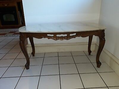Vintable French oak Carved Coffee Table With Marble Top