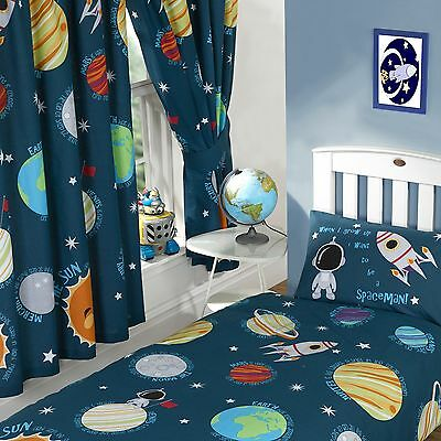 """SOLAR SYSTEM SPACE PLANETS 66"""" x 54"""" LINED CURTAINS WITH TIE BACKS BOYS"""