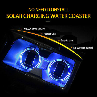 Auto Car Solar Cup Pad Car accessories LED Light Cover Interior Decoration 2Pcs
