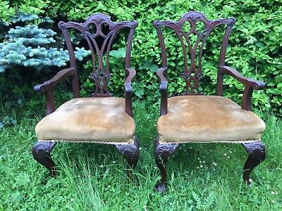 Pair Late 18th / Early 19th Century Mahogany Chippendale Carver Dining Chairs
