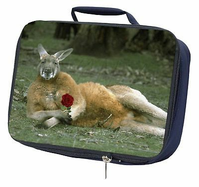 Kangaroo with Red Rose Navy Insulated School Lunch Box Bag, AK-1RLBN