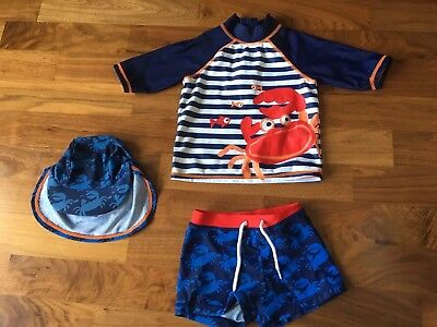 Baby Boys Mini Club From Boots Sun Safe UPF40+ Swim Suit  And Hat - 9-12 Months