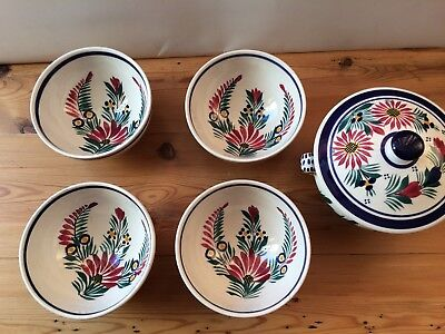 4 Quimper Hand Painted Bowls and lidded bowl