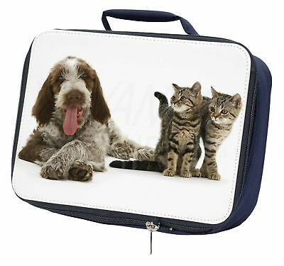 Italian Spinone Dog and Kittens Navy Insulated School Lunch Box Bag, AD-SP1LBN