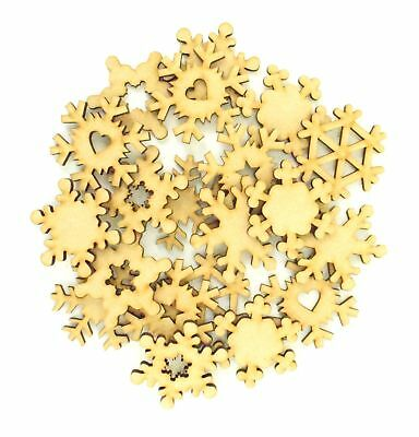Wooden MDF Mixed Snowflake Christmas Craft Shape - BULK BUY PACK OF APPROX 20