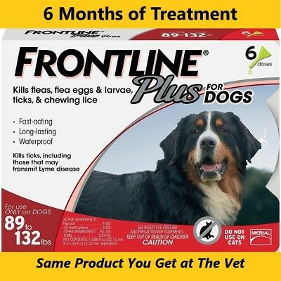 Frontline Plus Flea & Tick for XL Extra Large Dogs 89-132lbs (40-60kg) 6 Months