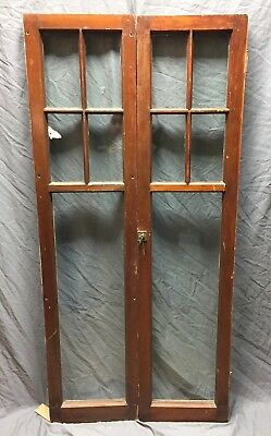 Pair Antique 6 Lite Casement Cabinet Door Window Vintage Old 15X62 324-18C